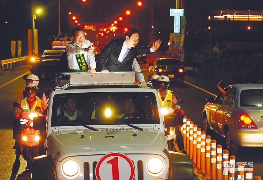 行政院長賴清德9日晚間陪同魏明谷在田中車隊拜票,隨後出席魏明谷在北斗舉行的首場競選連任造勢晚會。(鐘武達攝)
