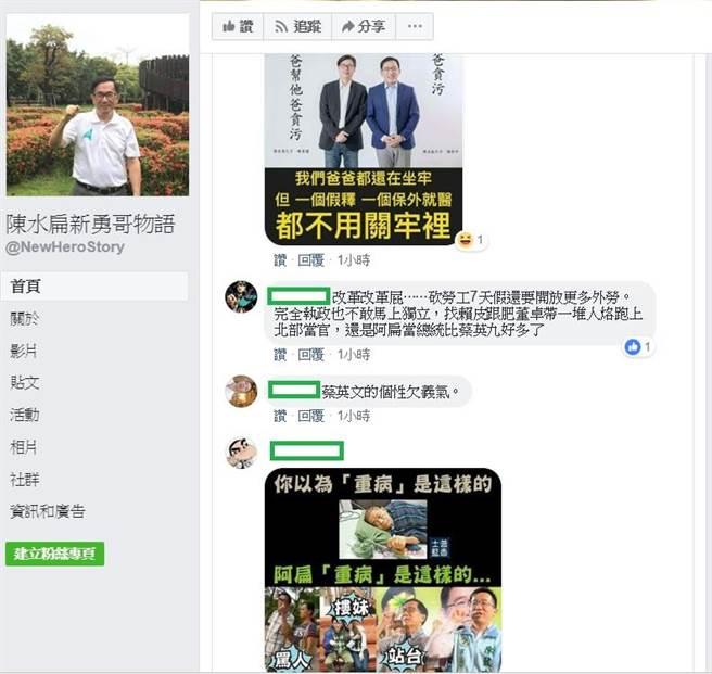 陳水扁在新勇哥物語的PO,對總統蔡英文日前在宜蘭站台助講做出評論。(圖/翻攝陳水扁新勇哥物語臉書)