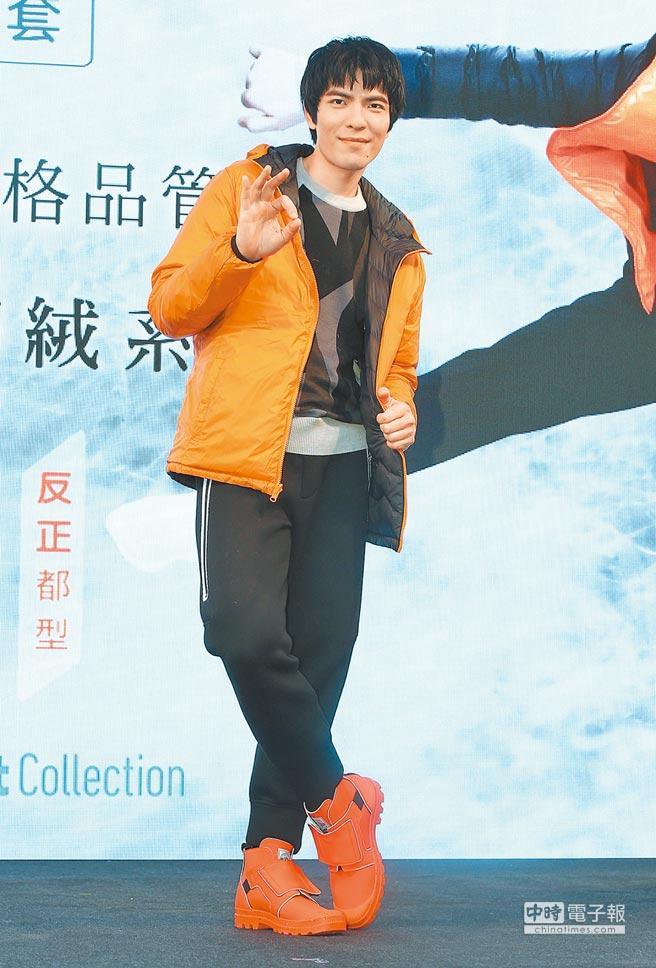 老蕭今年連莊代言同一品牌羽絨衣。(粘耿豪攝)