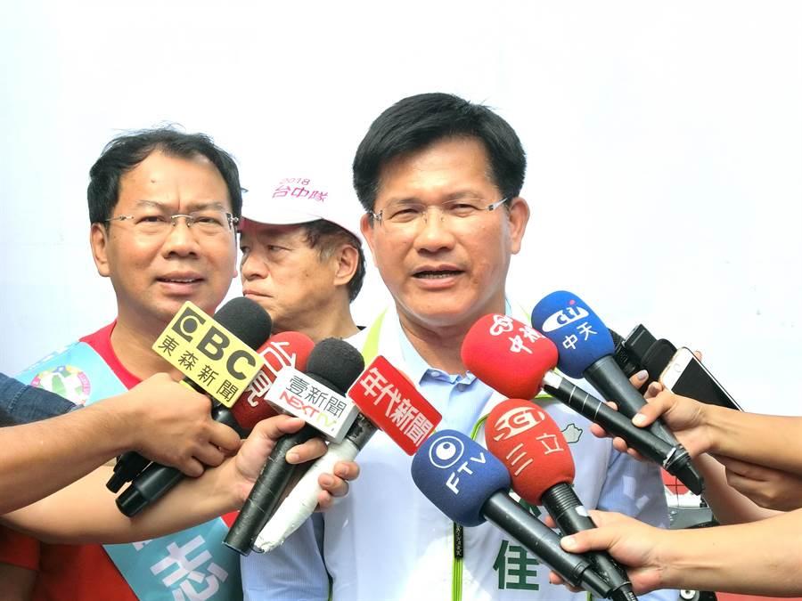 台中市長林佳龍11日表示,把台中花博辦成世界級的花博,讓台中市重新站上世界舞台,讓世界看見台中看見台灣。(盧金足攝)