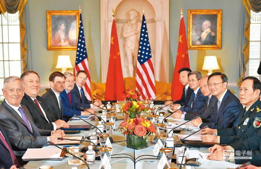 「中美外交安全對話」9日在華府的國務院舉行,美方代表包括國務卿蓬佩奧(左二)、國防部長馬提斯(左一),陸方代表包括中共中央政治局委員兼中央外事工作委員會辦公室主任楊潔篪(右二)、大陸國防部長魏鳳和(右一)。(法新社)