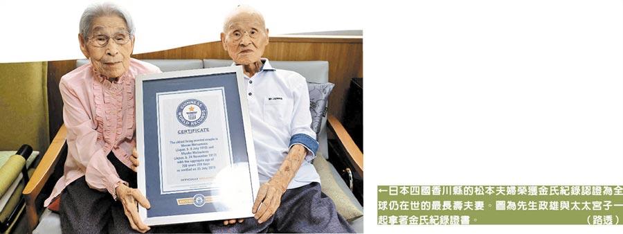 日本四國香川縣的松本夫婦榮獲金氏紀錄認證為全球仍在世的最長壽夫妻。圖為先生政雄與太太宮子一起拿著金氏紀錄證書。(路透)