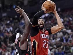 NBA》一眉哥雙20助威 鵜鶘破了暴龍主場不敗之身