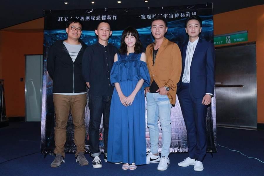 演員張書偉、鄭人碩、辛樂兒和導演莊絢維、監製曾瀚賢出席媒體茶敘。(威視提供)