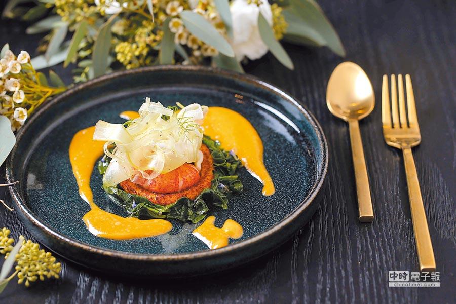 「茴香,龍蝦,檸檬奶油醬汁」將龍蝦刷上一層蝦油,再搭配檸檬奶油醬汁,小菠菜及洋芋麵疙瘩。(Stagiaire提供)