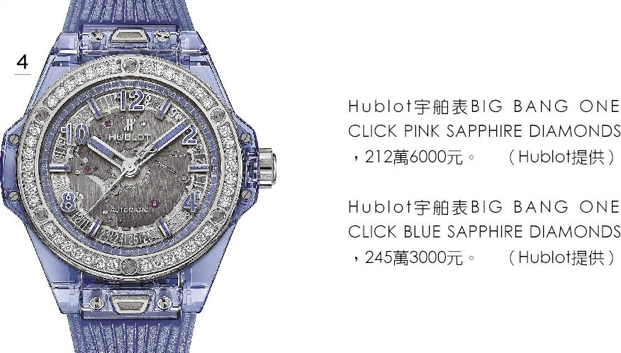 4.Hublot宇舶表BIG BANG ONE CLICK BLUE SAPPHIRE DIAMONDS,245萬3000元。(Hublot提供)