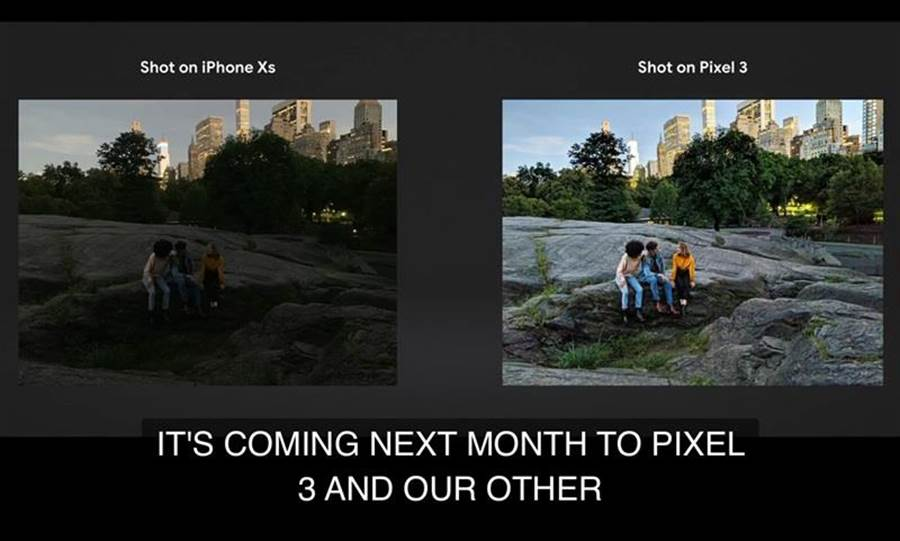 在十月份的發表會中,Google將Pixel 3夜視功能與iPhone XS Max對比,效果相當明顯。(圖/翻攝made by Google發表會)
