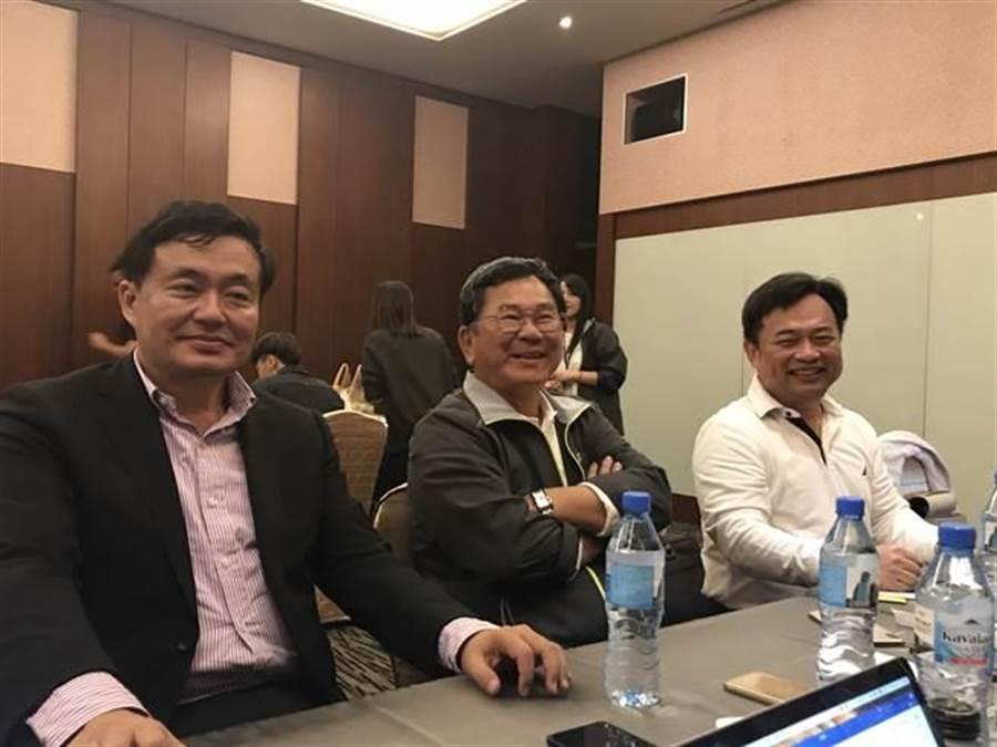 民進黨選對會三巨頭,洪耀福(左)、陳明文(中)、林錫耀(右)。(曾薏蘋/攝)