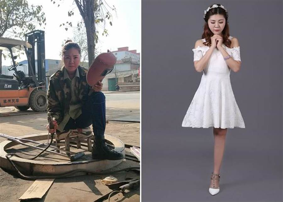 勇敢的女人最美! 獨腿正妹當焊工網爆紅 拒絕300次告白(圖/翻攝自《澎湃新聞》)
