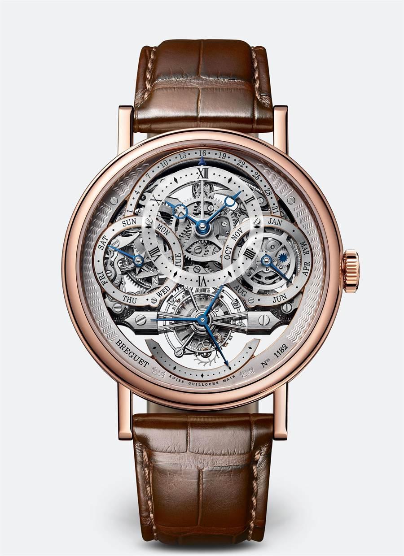 寶璣經典系列Classique Tourbillon Quantieme Perpetuel 3795萬年曆鏤空陀飛輪腕表,776萬1000元。 (Breguet提供)