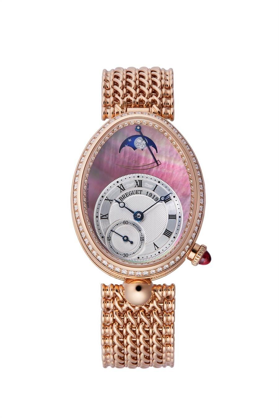 寶璣那不勒斯系列Reine de Naples 8908月相仕女鍊帶腕表, 199萬2000元。(Breguet提供)