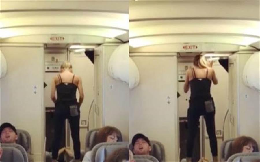 深蹲開腿樣樣來!搭飛機目擊「男女雙修」網友驚呆了(圖/翻攝自影片)