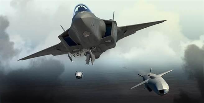 美軍F-35的聯合打擊導彈系統將納入挪威康斯柏格研發的NSM導彈,大幅增強其反艦攻擊能力。圖為F-35發射聯合打擊導彈的想像圖。(圖/康斯柏格防衛與航太公司)