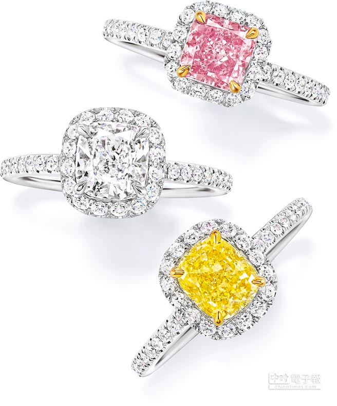 HARRY WINSTON雷德恩切工黃鑽鑽石戒指,黃鑽主石約7.48克拉,外圈以極細微密釘鑲嵌鑽石圍繞,約1940萬。(HARRY WINSTON提供)