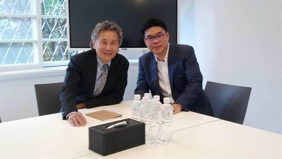 逢甲大學董事長高承恕(左)對聯聚建設董事長江韋侖相當敬佩。(圖/曾麗芳)