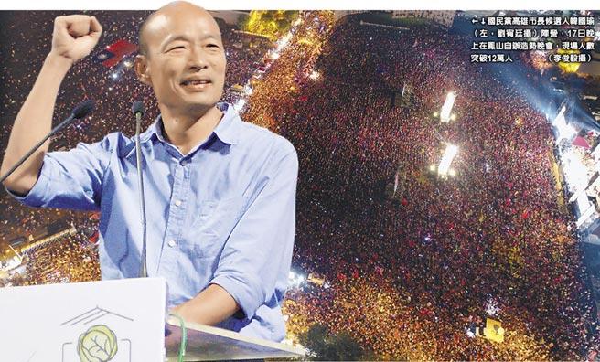 國民黨高雄市長候選人韓國瑜(左,劉宥廷攝)陣營,17日晚上在鳳山自辦造勢晚會,現場人數突破12萬人。(李俊毅攝)