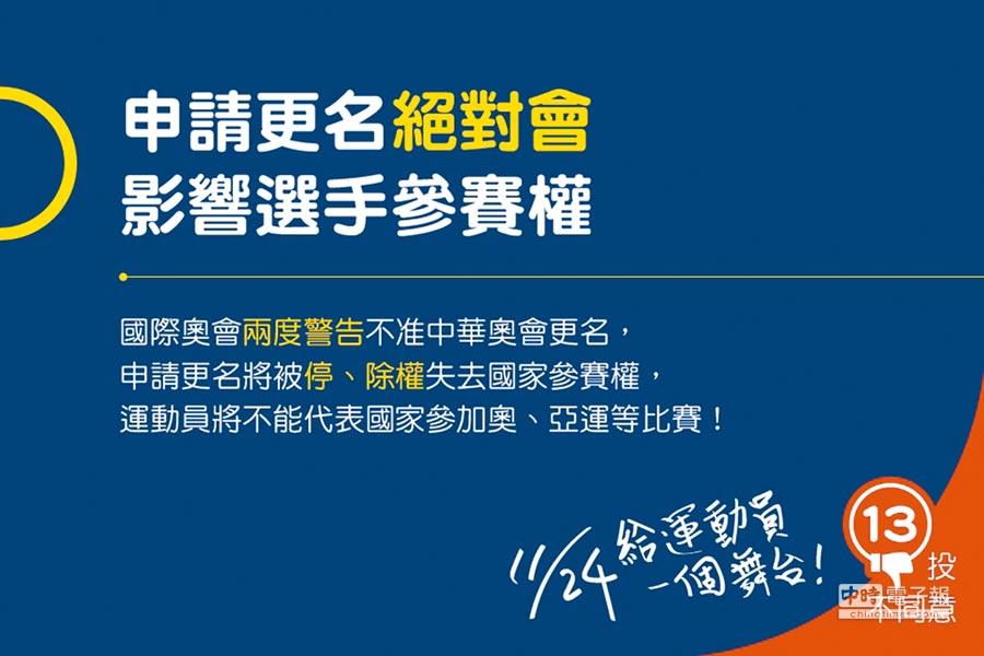 中華奧會「反正名」文宣。(取自中華奧會官網)