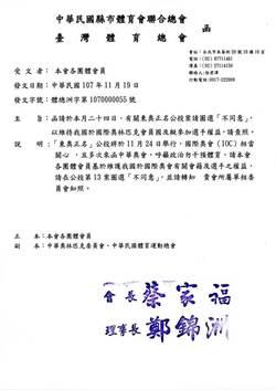 縣市體育聯合會與台灣體育總會發函 盼會員反對東奧正名