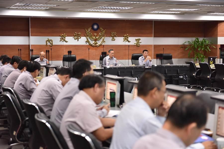 警政署今天選舉維安會議,特別再指示加強選票的安管工作。(胡欣男翻攝)