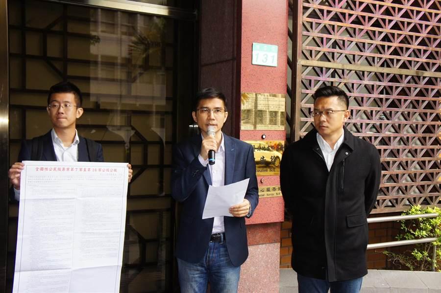 曾獻瑩表示,公民權利及程序正義已遭中選會違法踐踏,主委陳英鈐應負最大責任。(張孝義攝)