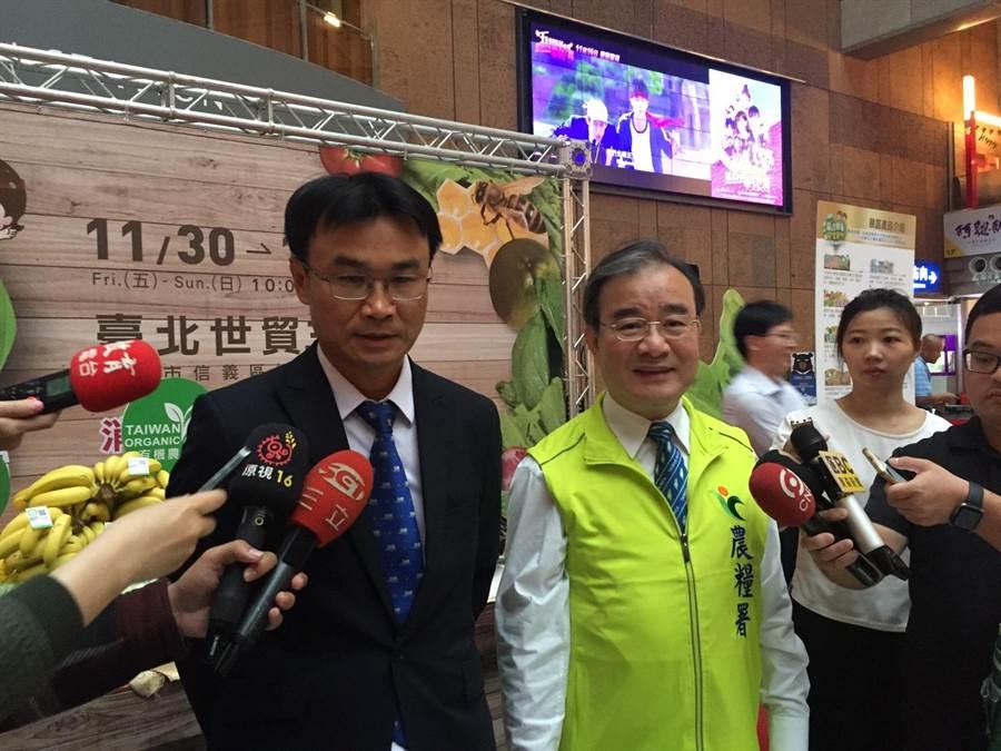 農委會副主委陳吉仲(左)今(22)日出席農業精品展銷會展前記者會,對「豐年社事件」做出四點聲明。(游昇俯攝)