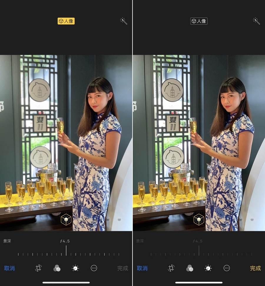 最新版Google相簿可以讓 iPhone 7 Plus、iPhone 8 Plus 等原先無法調整人像模式景深的 iPhone,都得以體驗此功能,且不需要把照片的「人像」功能關閉。(圖/iPhone截圖)