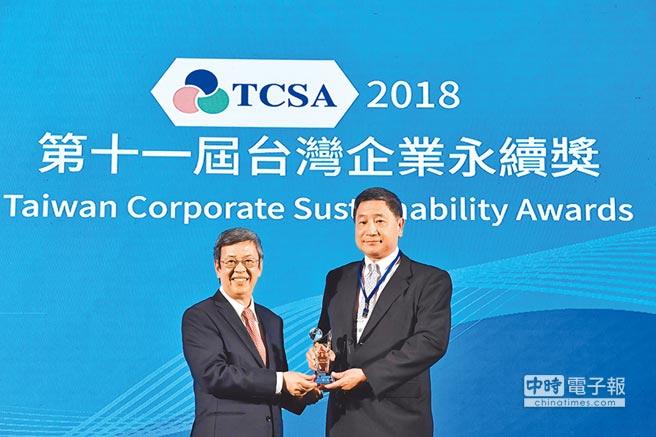 台泥董事長張安平(右)昨接受副總統陳建仁(左)頒發台灣企業永續獎7大獎項。(台泥提供)