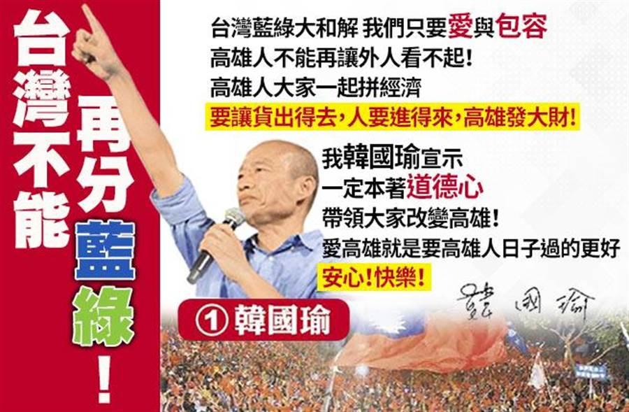 韓國瑜:台灣不能再分藍綠