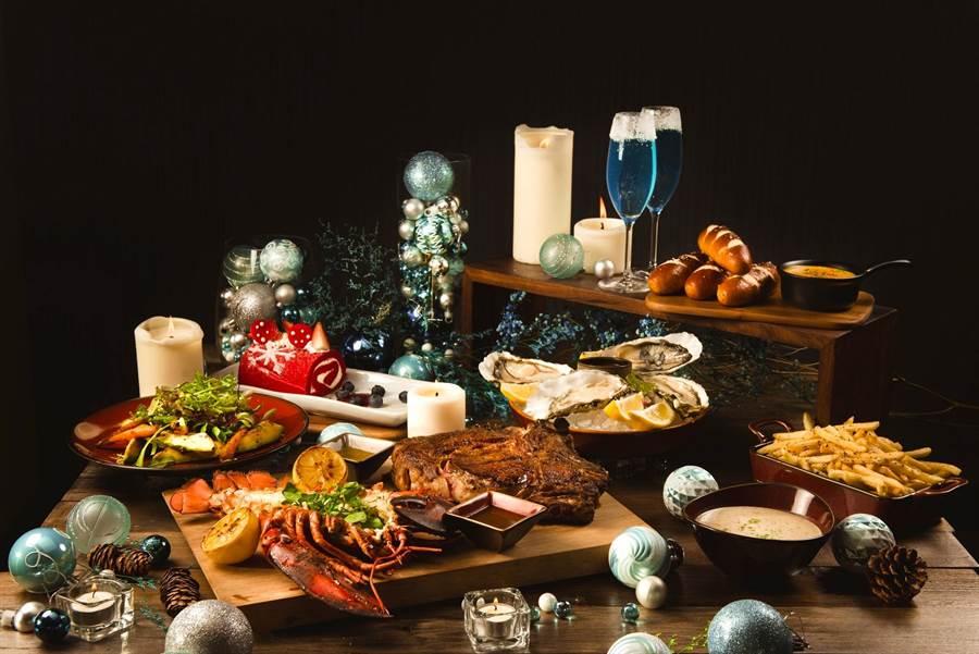 Que原木燒烤餐廳「聖誕節雙人分享餐晚餐」,售價4000元+10%/套。(圖片提供/台北松山意舍酒店)