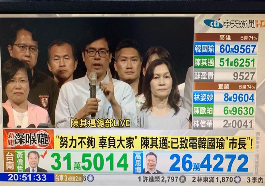 韓國瑜與陳其邁開票結果。(圖/取自中天)