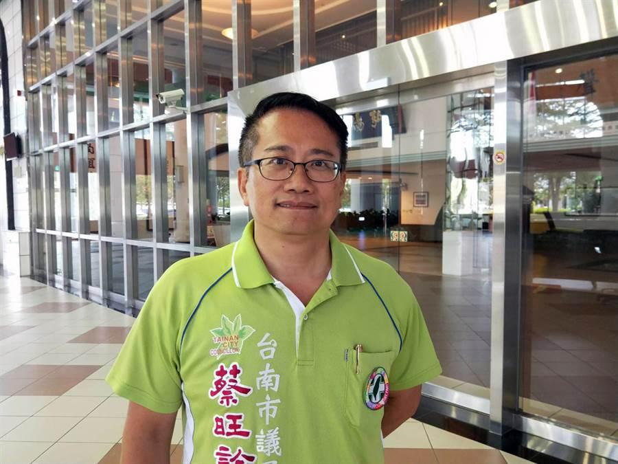 民進黨台南市議員蔡旺詮要求黨核心解散重組。(洪榮志攝)