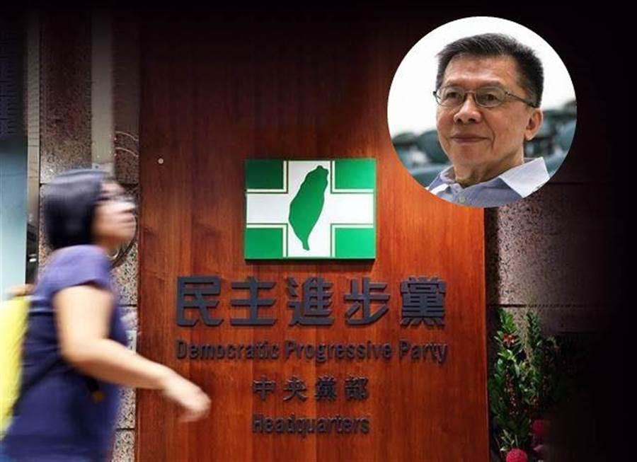 圖為民進黨中央黨部、前民進黨立委沈富雄。(合成圖/中時資料照)