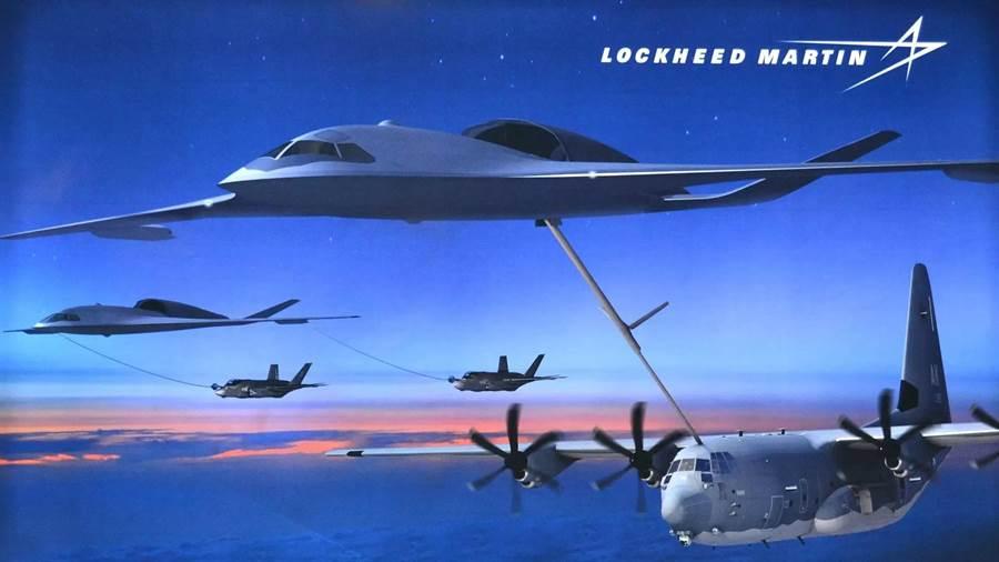 洛馬公司計劃中的隱形空中加油機進行加油的概念圖。(圖/洛克希德馬丁公司)