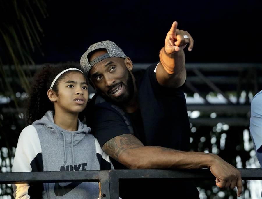 NBA退役球星布萊恩(右)和女兒。(資料照/美聯社)