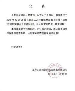陳羽凡涉毒被捕 「羽泉」20周年演唱會停辦退票