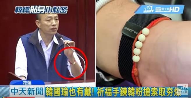 韓國瑜手上戴的「紅繩」。(翻攝自中天新聞)