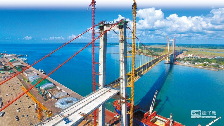 航拍非洲莫三比克「馬布多──卡滕貝大橋」。(新華社)