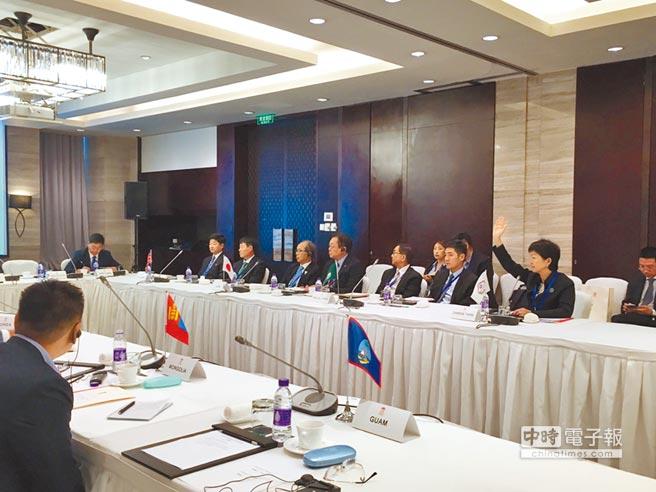 7月24日,EAOC召開臨時理事會表決台中東亞青運停辦,中華奧會祕書長沈依婷(舉手者)投下唯一反對票,可惜孤掌難鳴。(中華奧會提供)