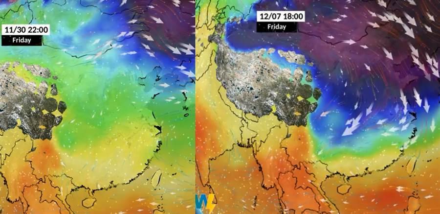 紫色區域為西伯利亞冷高壓,逐漸南下、下周五抵台(翻攝自 彭啟明臉書)