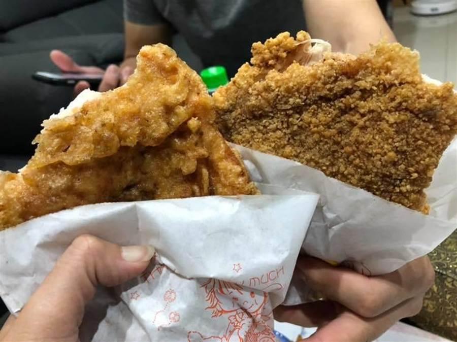 有網友在爆廢公社上分享一張圖,問大家喜歡吃圖中左邊的脆皮雞排還是右邊的傳統雞排?翻攝爆廢公社