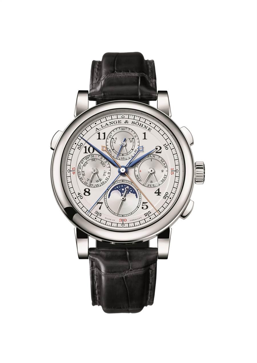 朗格1815 Rattrapante Perpetual Calendar雙追針萬年曆腕表,632萬3000元。(A. Lange & Sohne提供)