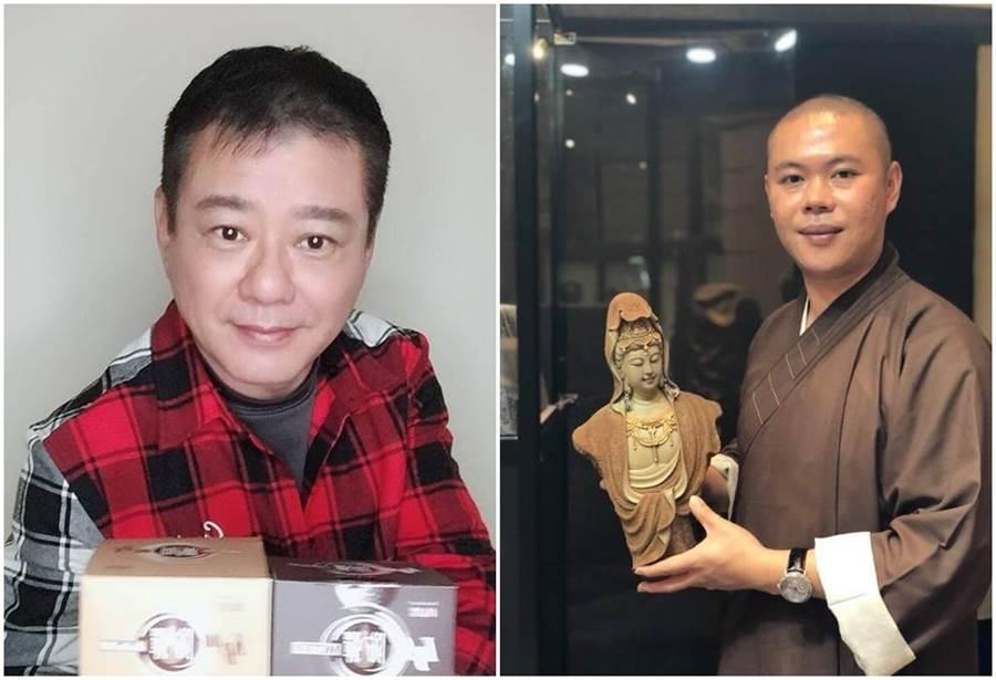 釋本藏師父(右)在安迪臨終前為他皈依。(取材陳慧娥臉書)