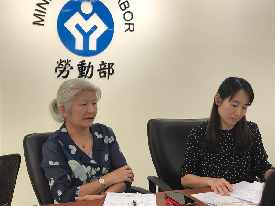 勞動部統計處長羅怡玲(左)表示,明年1月人力共淨增加3萬6653人,是近四年同季新高。(王思慧攝影)