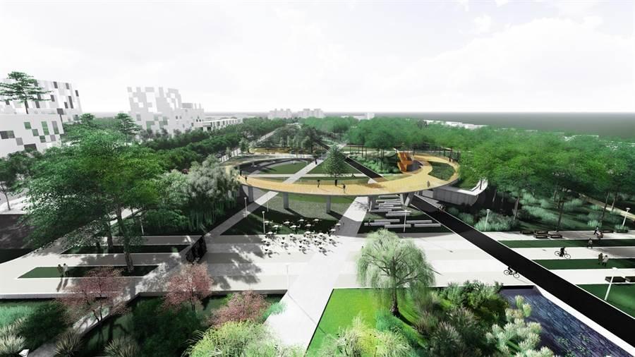 高市府打造小港森林公園為地景式大型公園,將在12月下旬完工開放。圖為小港森林公園模擬圖。(曹明正翻攝)