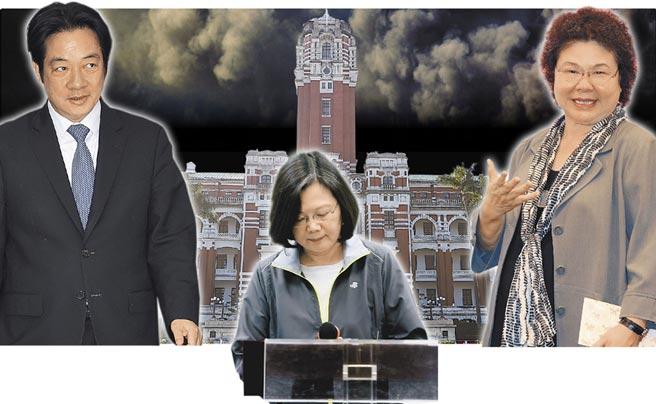 行政院長賴清德(左)、總統蔡英文(中)、總統府祕書長陳菊(右)。