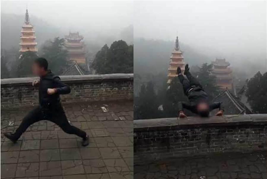 勇男見雪太嗨「爬護欄倒立」 下秒跌落30公尺斜坡(圖翻攝自/梨視頻)