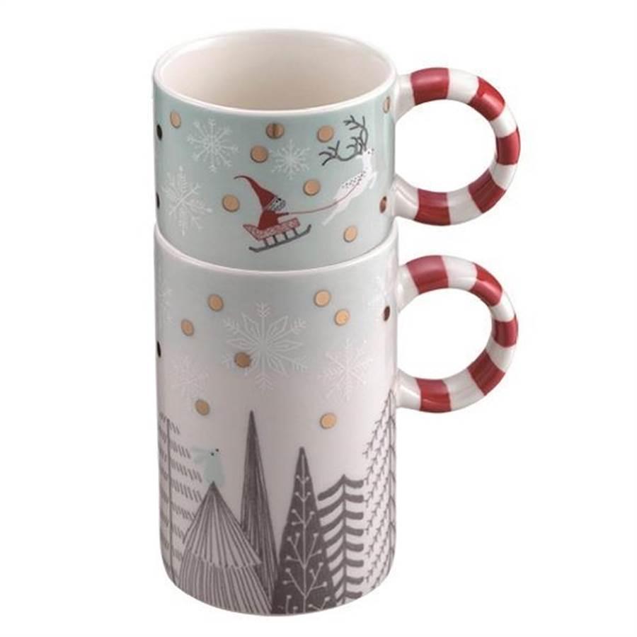 微風A1星巴克銀白耶誕可疊馬克杯組,750元。(微風提供)
