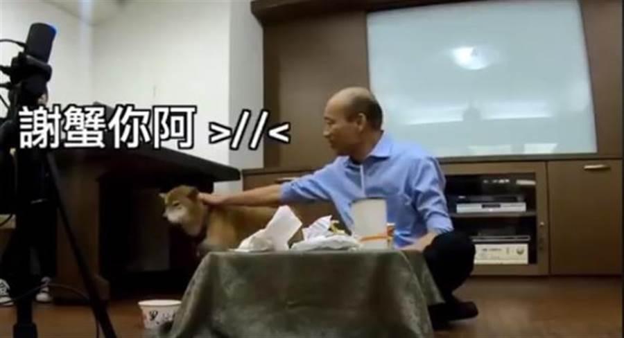 韓國瑜曾和家中愛犬一起玩直播。(翻攝韓國瑜臉書直播影片)