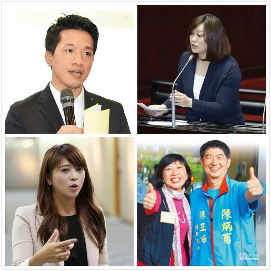 民進黨何志偉(左上)、國民黨陳炳甫(右下)、親民黨陳怡潔(右上)、以及隸屬柯家軍的陳思宇(左下)。(圖為資料照)