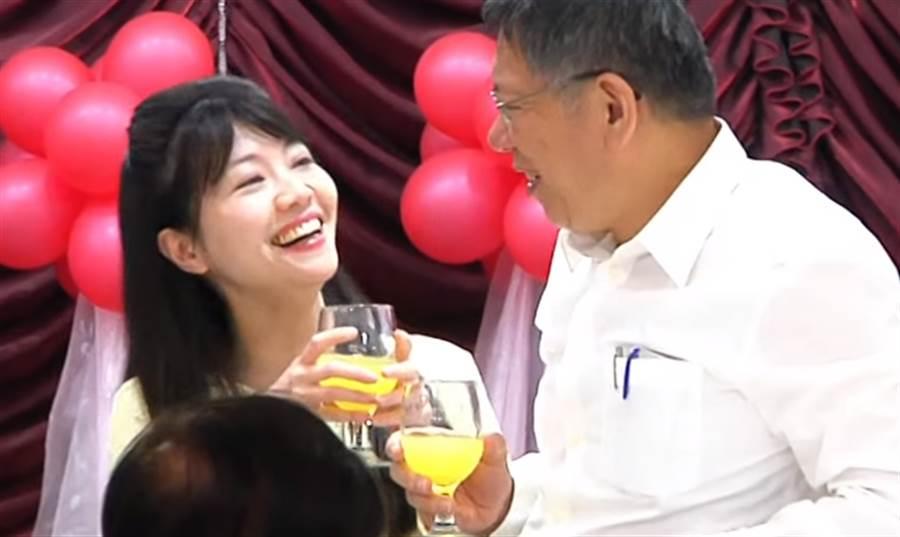 ▲台北市議員高嘉瑜和市長柯文哲。(圖/取自中天新聞CH52)